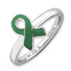 Stackable Expressions Sterling Silver Green Enameled Awareness Ribbon Ring
