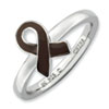 Stackable Expressions Sterling Silver Brown Enameled Awareness Ribbon Ring