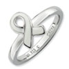 Stackable Expressions Sterling Silver White Enameled Awareness Ribbon Ring