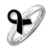 Stackable Expressions Sterling Silver Black Enameled Awareness Ribbon Ring