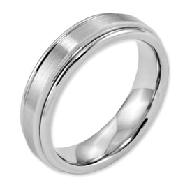 Chisel Cobalt Chromium Satin and Polished 6mm Band