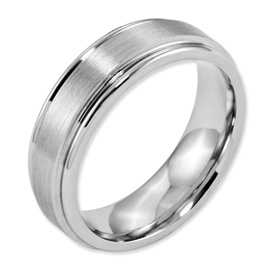 Chisel Cobalt Chromium Satin and Polished 7mm Band