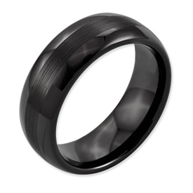 Chisel Ceramic Black 8mm Brushed and Polished Band