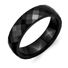 Chisel Ceramic Black 6mm Faceted Polished Band