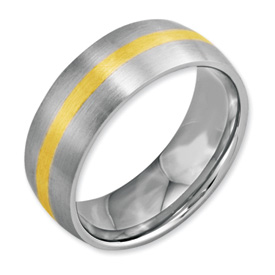 Chisel Stainless Steel 14k Gold Inlay 8mm Brushed Band