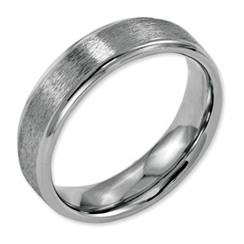 Chisel Stainless Steel Ridged Edge 6mm Satin and Polished Band