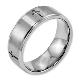 Chisel Stainless Steel Ridged Edge Cross 8mm Brushed and Polished Band