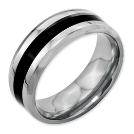 Chisel Stainless Steel Black Enameled 8mm Polished Band