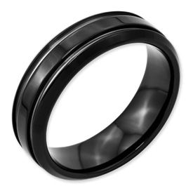 Chisel Stainless Steel Black-plated Grooved 7mm Band