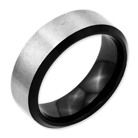 Chisel Stainless Steel Black-plated 8mm Brushed Band