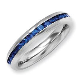 Chisel Stainless Steel 4mm September Blue CZ Ring