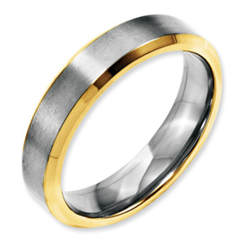 Chisel Stainless Steel 5mm Brushed and Polished Gold-plated Band