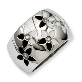 Chisel Stainless Steel Black and White Enamel Flowers with CZ Ring