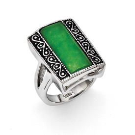 Chisel Stainless Steel Antiqued Rectangular Ring with Synthetic Jade