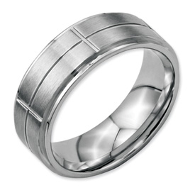 Chisel Stainless Steel Grooved 8mm Brushed and Polished Band