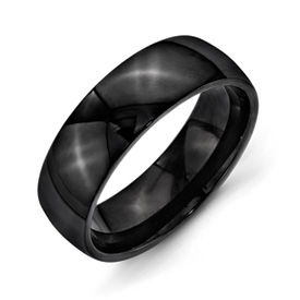 Chisel Stainless Steel 7mm Black IP-plated Polished Band