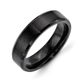 Chisel Stainless Steel 6mm Black IP-plated Brushed and Polished Beveled Edge Band
