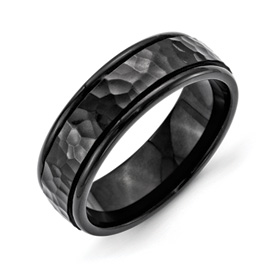 Chisel Stainless Steel 7mm Black IP-plated Hammered and Polished Band