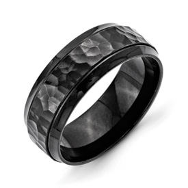 Chisel Stainless Steel 8mm Black IP-plated Hammered and Polished Band with Beveled Edges