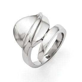 Stainless Steel Polished Leaf Ring