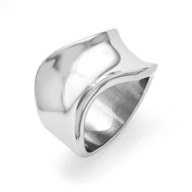 Stainless Steel Polished Wave Ring