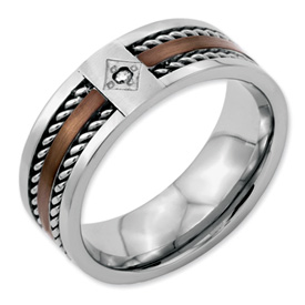 Chisel Stainless Steel Chocolate IP Plated Diamond 8mm Polished Band