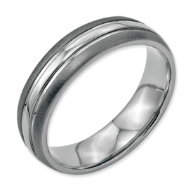 Chisel Stainless Steel Grooved 6mm Brushed and Polished Band