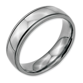 Chisel Stainless Steel Grooved and Beaded 6mm Polished Band
