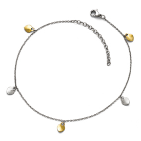 Stainless Steel Polished Yellow IP-plated Hearts w/1.75in ext Anklet