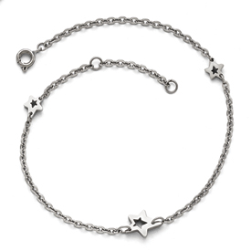 Stainless Steel Polished Stars with 1in extension Anklet