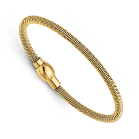 Chisel Stainless Steel Yellow IP-plated Polished and Textured Bracelet