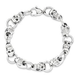 Chisel Stainless Steel Polished Skull Bracelet