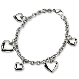 Chisel Stainless Steel Polished Hearts 8 inch Bracelet