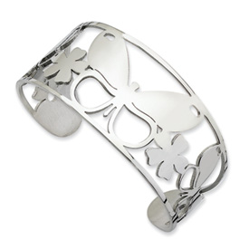 Chisel Stainless Steel Polished Butterfly Cuff Bangle