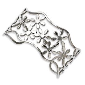 Chisel Stainless Steel Flower Cuff Bangle