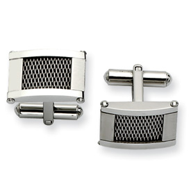 Chisel Stainless Steel Wire Brushed and Polished Cuff Links