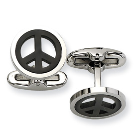 Chisel Stainless Steel Black-plated Peace Symbol Cuff Links