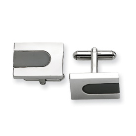 Chisel Stainless Steel polished, Black-plated Cuff Links