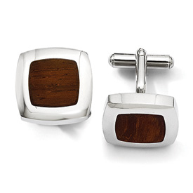 Chisel Stainless Steel Wood Inlay Cuff Links