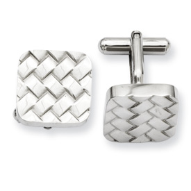 Chisel Stainless Steel Weave Design Cuff Links