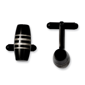 Chisel Stainless Steel Black IP-plated Cuff Links