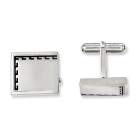 Chisel Stainless Steel Antiqued Edge Brushed Cuff Links