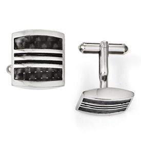 Chisel Stainless Steel Black Carbon Fiber and Black Enamel Cuff Links