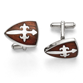 Chisel Stainless Steel Polished and Wood Inlay Cuff Links