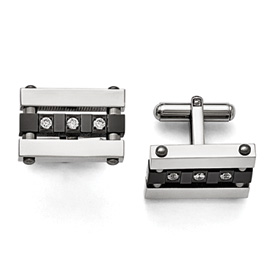 Chisel Stainless Steel CZ Black IP-plated Polished Cuff Links