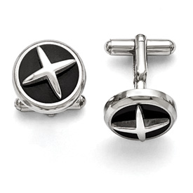 Stainless Steel Polished Enameled X Cuff Links