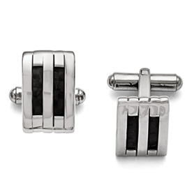 Stainless Steel Polished Black Carbon Fiber Inlay Cufflinks