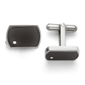 Stainless Steel Polished Black Enamel and CZ Cuff Links