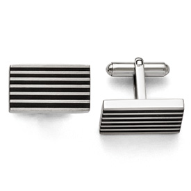 Stainless Steel Brushed Black Rubber Cufflinks