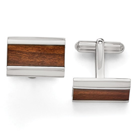 Stainless Steel Polished Wood Inlay Enameled Cuff Links